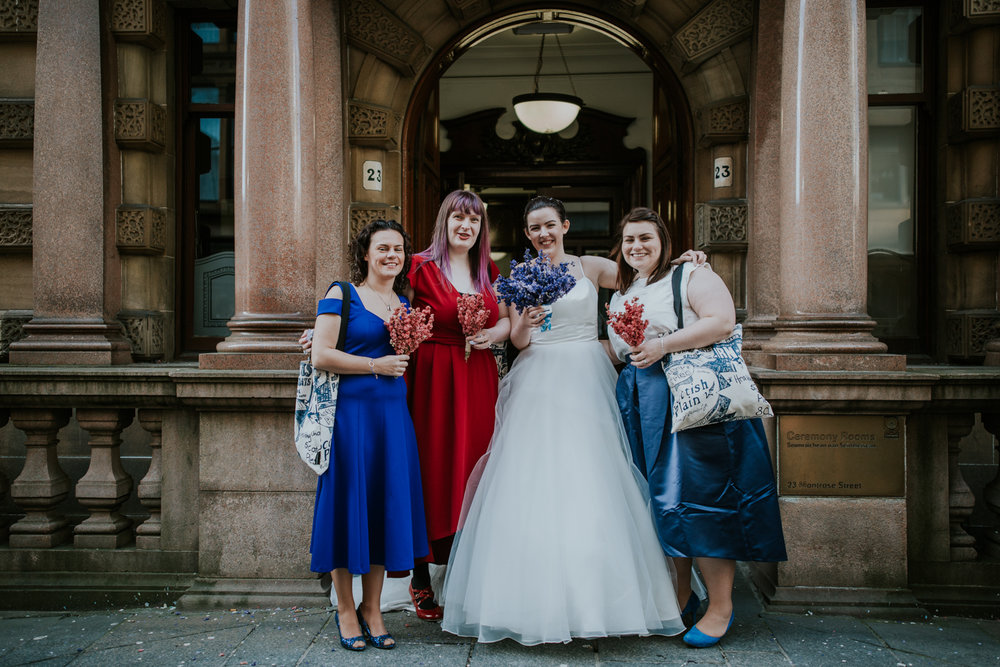 Bridal party, bride and her bridesmaids at the Glasgow registry office