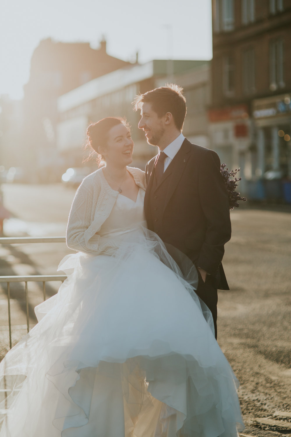 Beautiful sunset couple shot, alternative wedding photographer