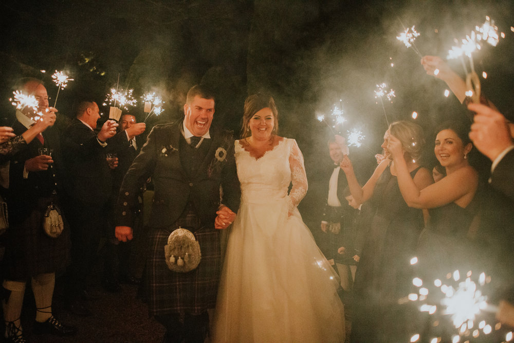 Sparkles outside of Brig O' Doon for Kate and Michael's wedding in Ayrshire