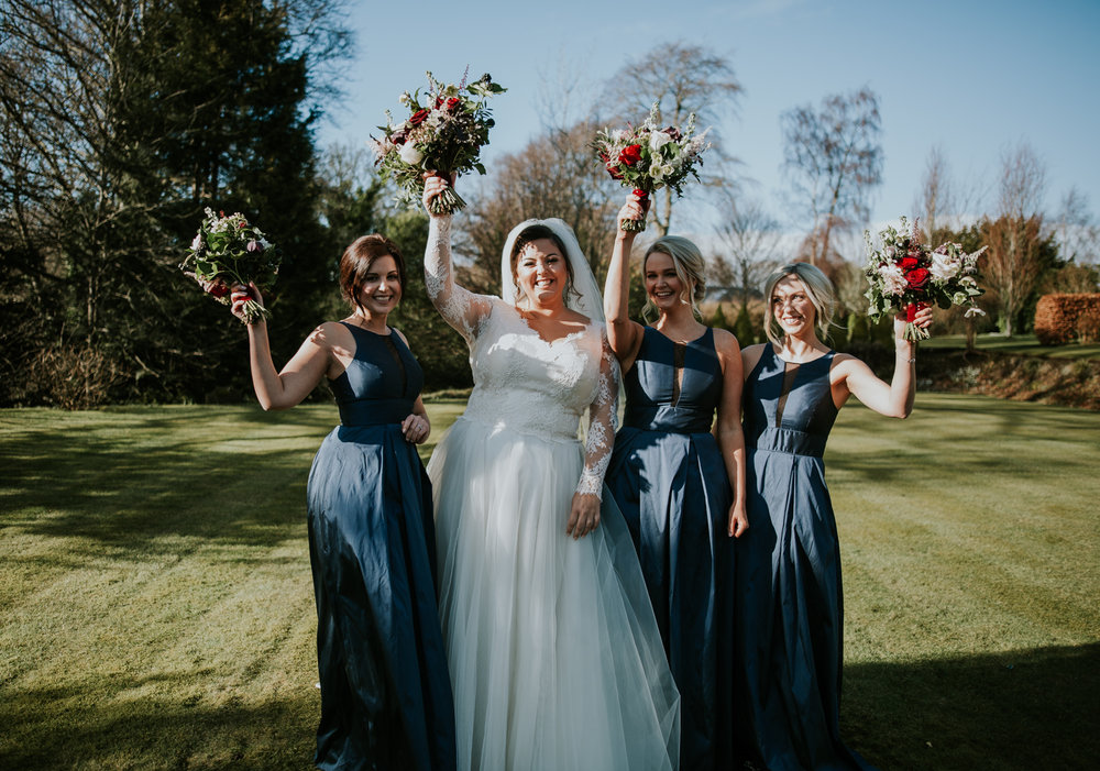 Bride with her bridesmaids at Brig o' Doon, Ayrshire