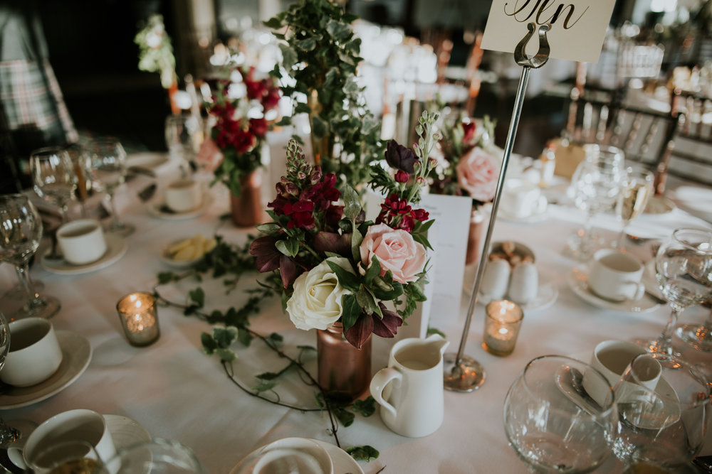 A romantic wedding tables set up