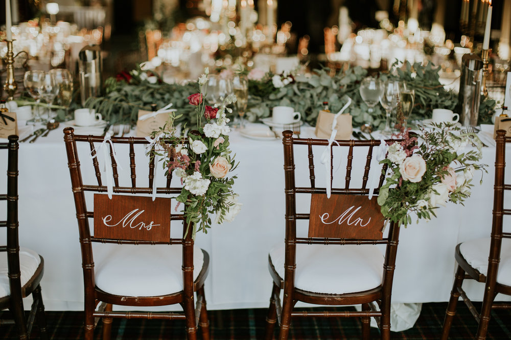 The stunning wedding tables set up for the romantic couple