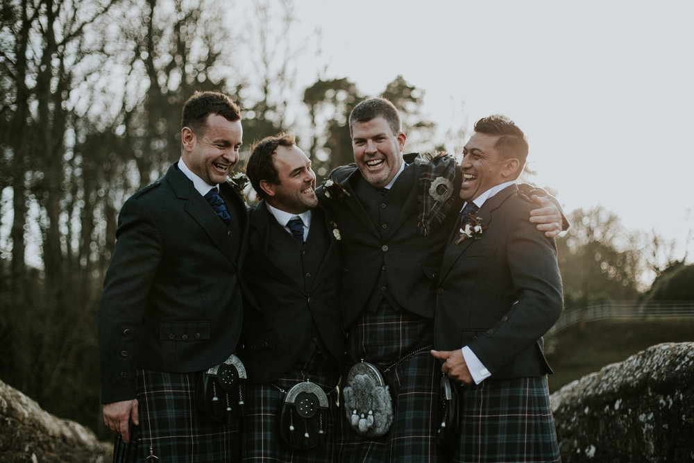 Groomsmen with groom at Brig o' Doon, Ayrshire wedding photographer
