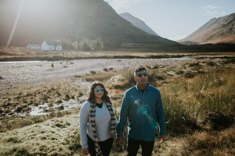 A happy couple photoshoot in the Three Sisters in Glencoe, Scotland