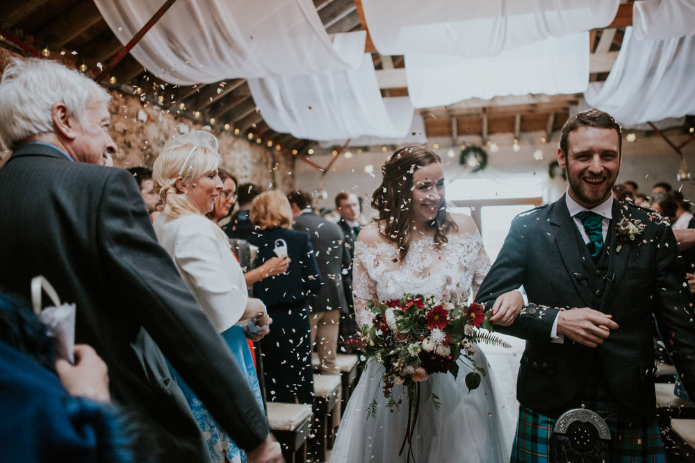 Confetti shot at Harelaw farm wedding, Ayrshire