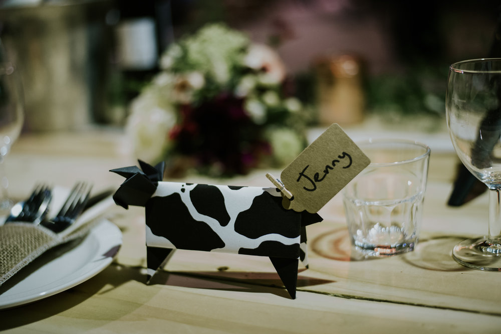 Origami cow at the table set up, Harelaw farm wedding