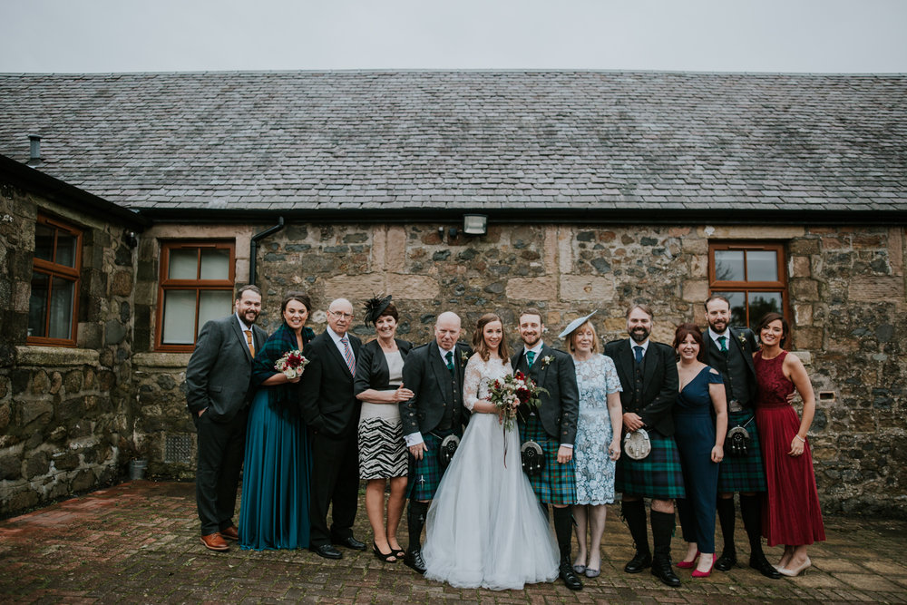 Group of family formals at Harelaw farm