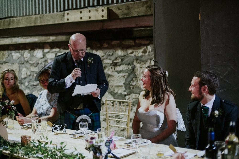 Bride's dad speech at the wedding reception, Harelaw farm DIY wedding.