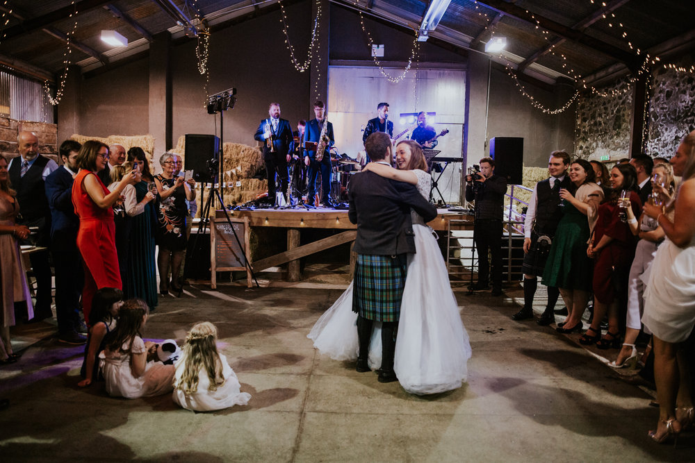 First dance in front of family and friends at Harelaw farm, Ayrshire.