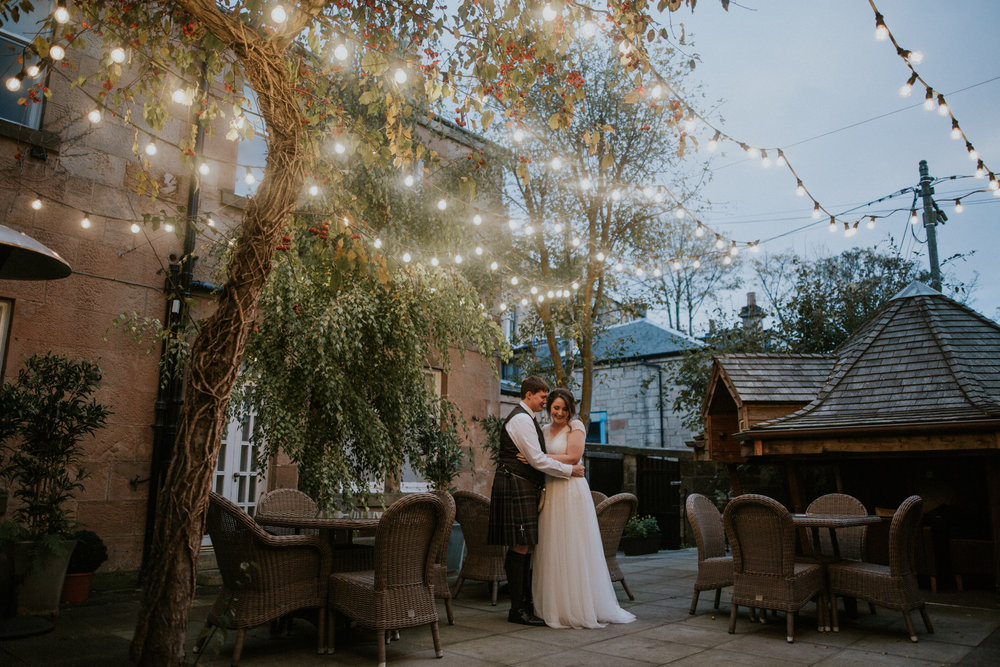 Wedding couple photo shoot at the One Devonshire Gardens venue, Glasgow