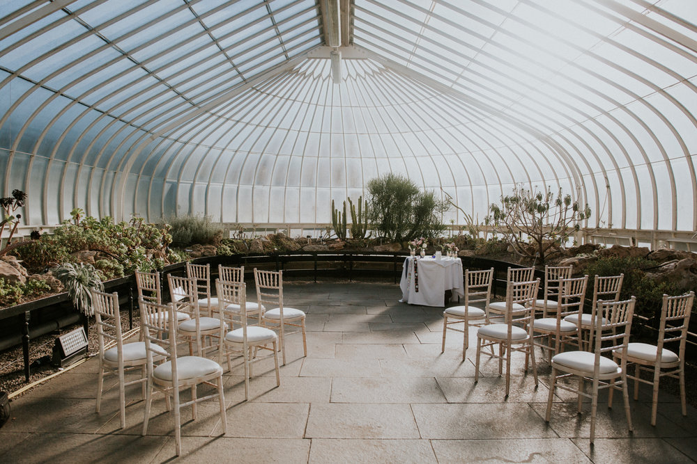 Wedding ceremony room set up at the Glasgow botanic gardens