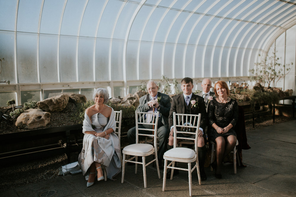 Family and friends are at the ceremony room at the Botanic Gardens in Glasgow