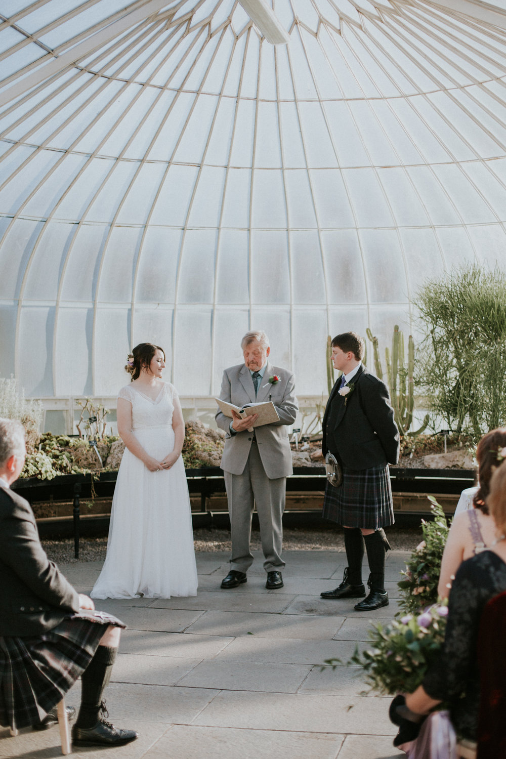 Grand father gives a speech at the Botanic Gardens in Glasgow