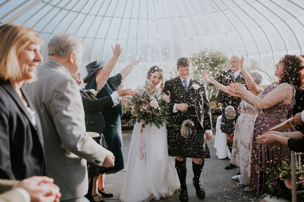 Happy confetti shot at the Botanic Gardens in Glasgow