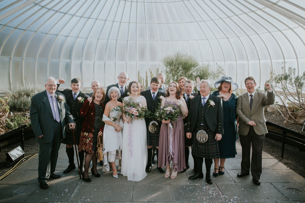 A group informal photo at the Botanic Gardens in Glasgow