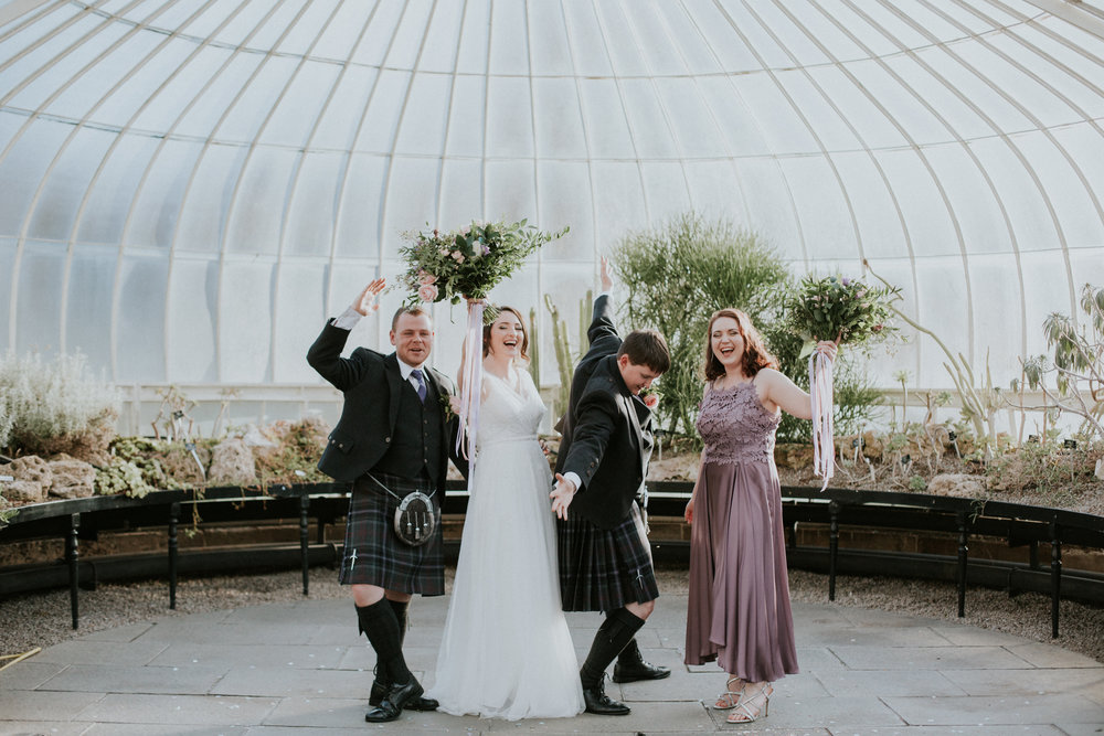 The Bridal Party Fun at the Botanic Gardens in Glasgow