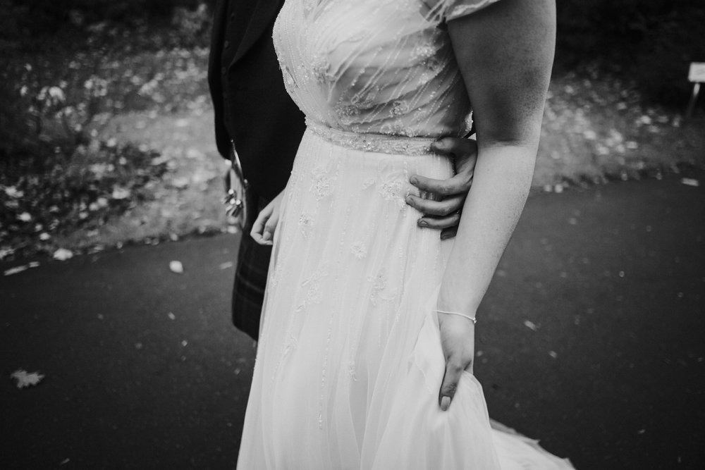 Detailed shot of the bride's wedding dress from Wed2b