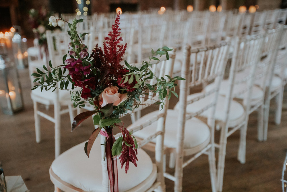 Floral Menagerie wedding decor for the ceremony at the 29 Private members club in Glasgow