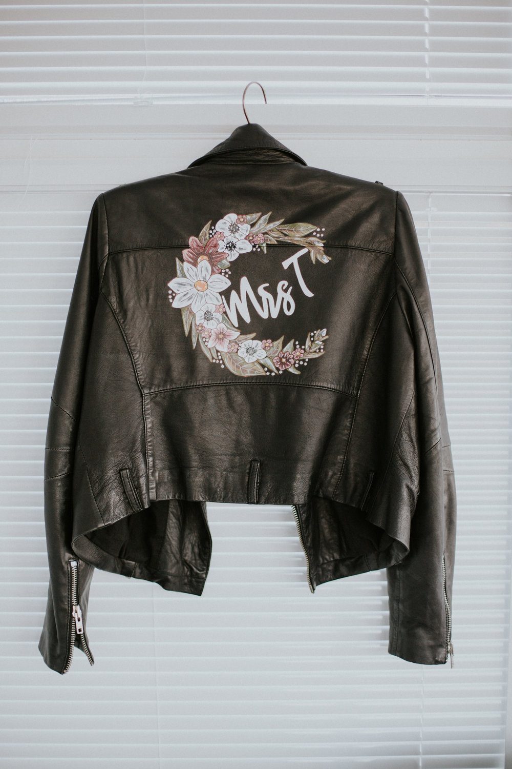 Rock and roll bride's leather jacket
