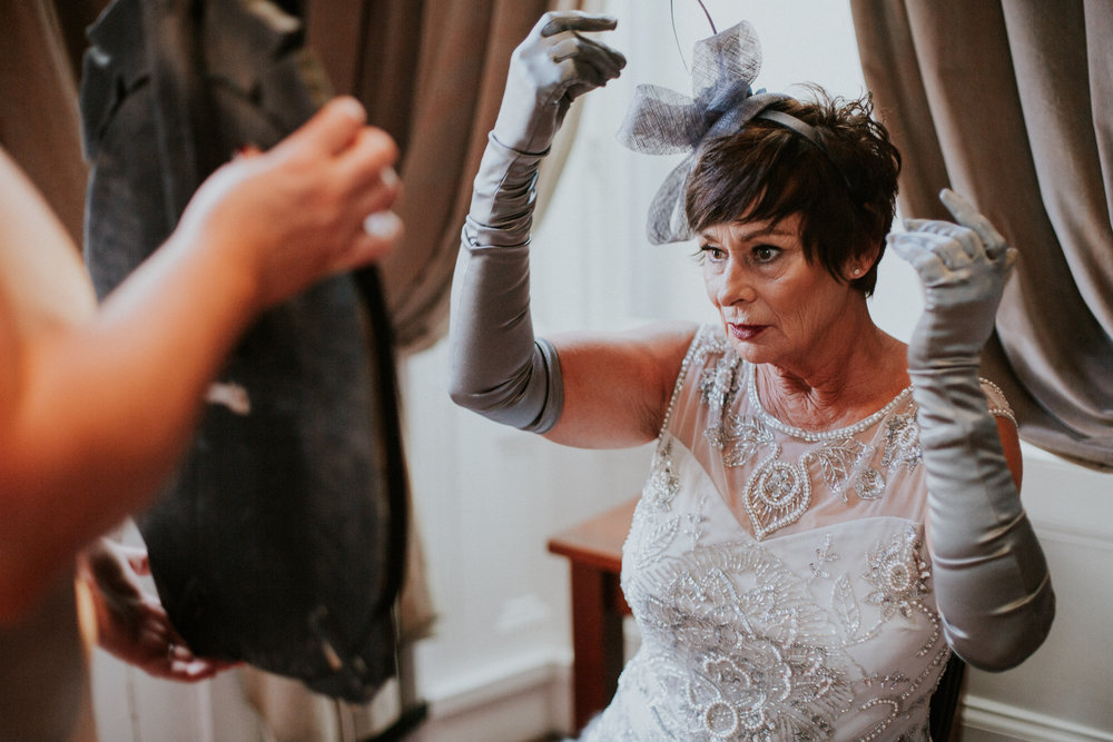 The aunt's finishing touches