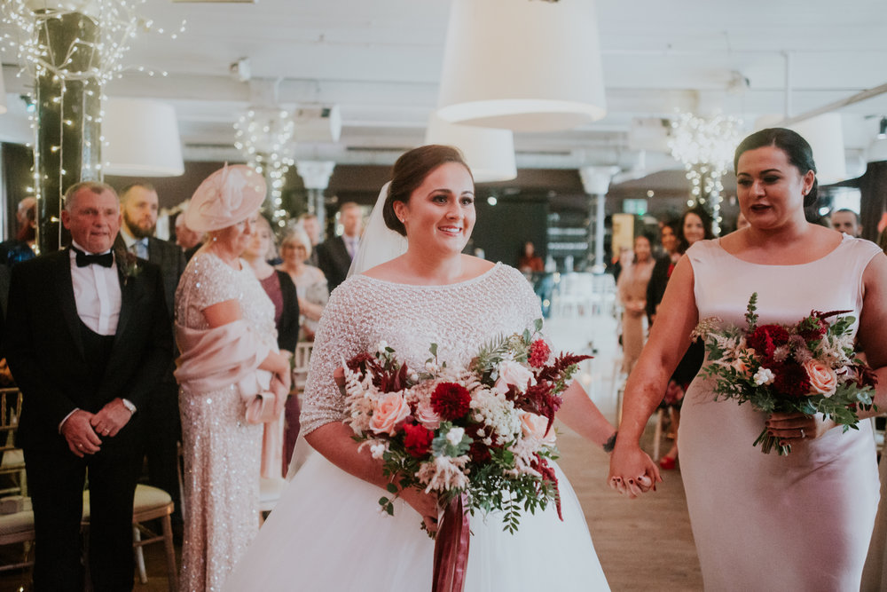 The bride has so much excitement to see the groom for the first time