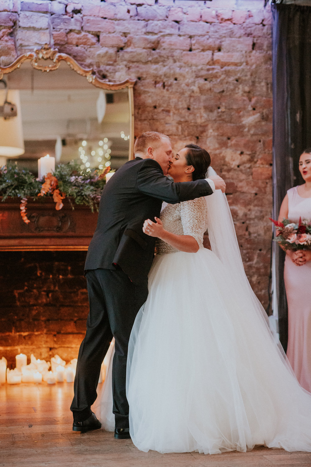 First kiss as a husband and wife at the 29 Private members club in Glasgow