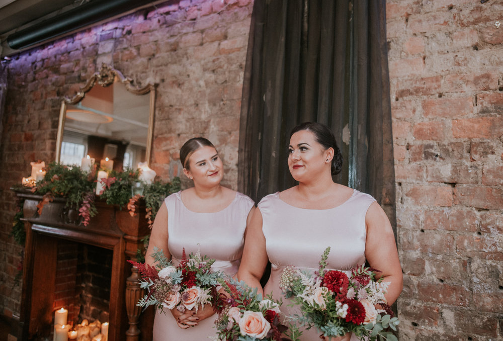The happy bridesmaids at the ceremony in Glasgow, 29 Private member club Scotland