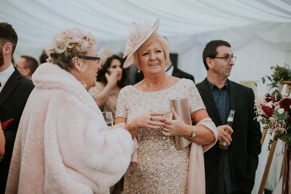 Mother of the groom at the wedding reception at the 29 Private member club in Glasgow