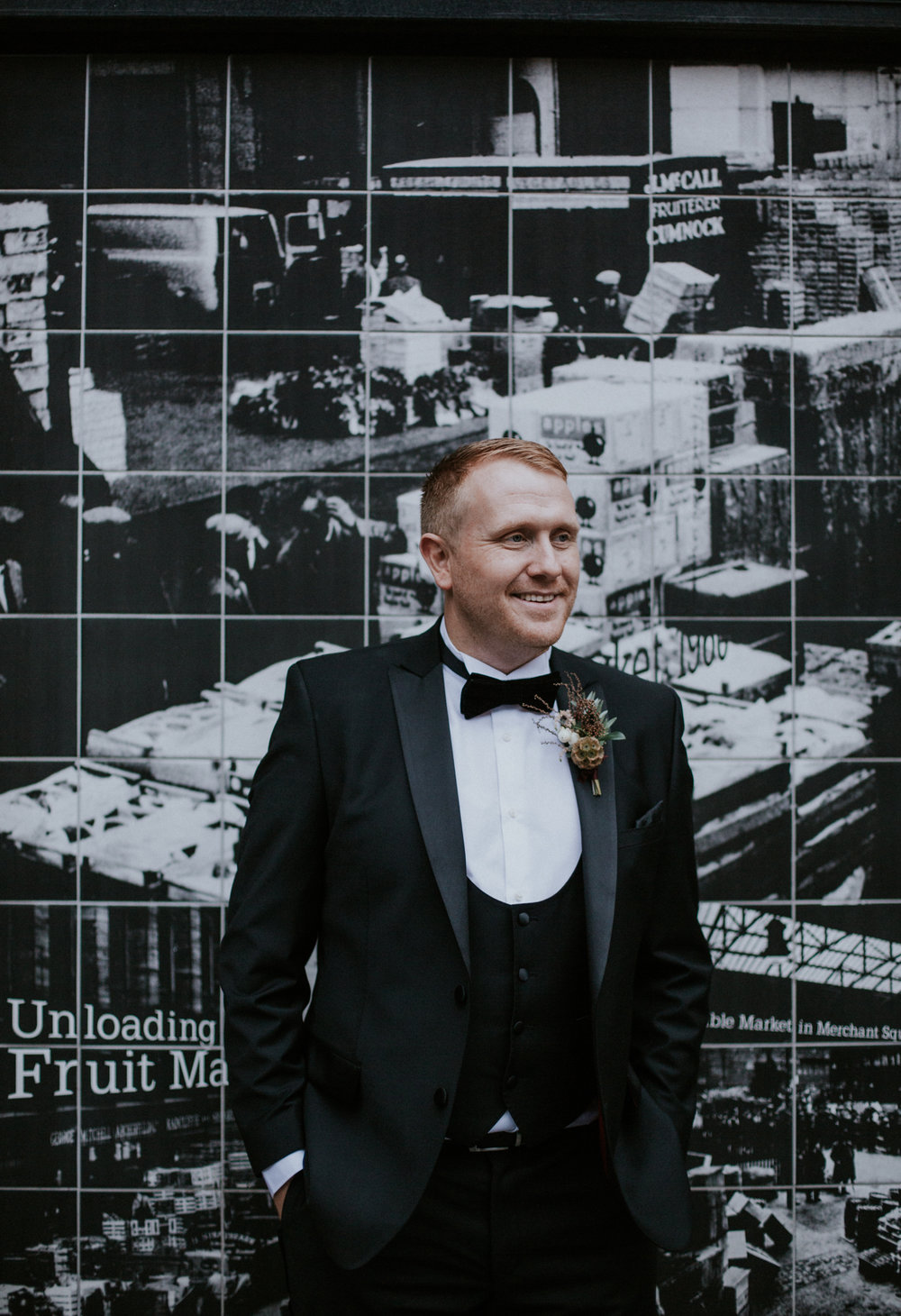 The stunning groom's portrait on the street of Glasgow