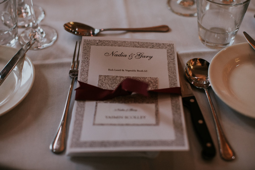 The wedding menu at 29 Private members club in Glasgow