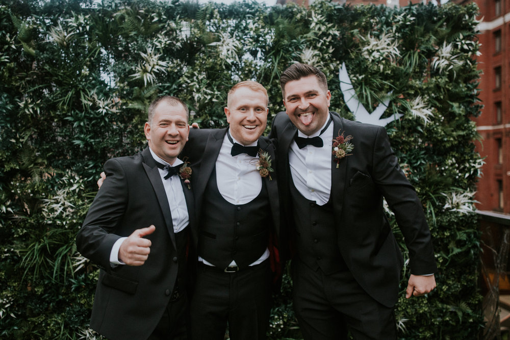 Groom with his boys at 29 Private members club in Glasgow