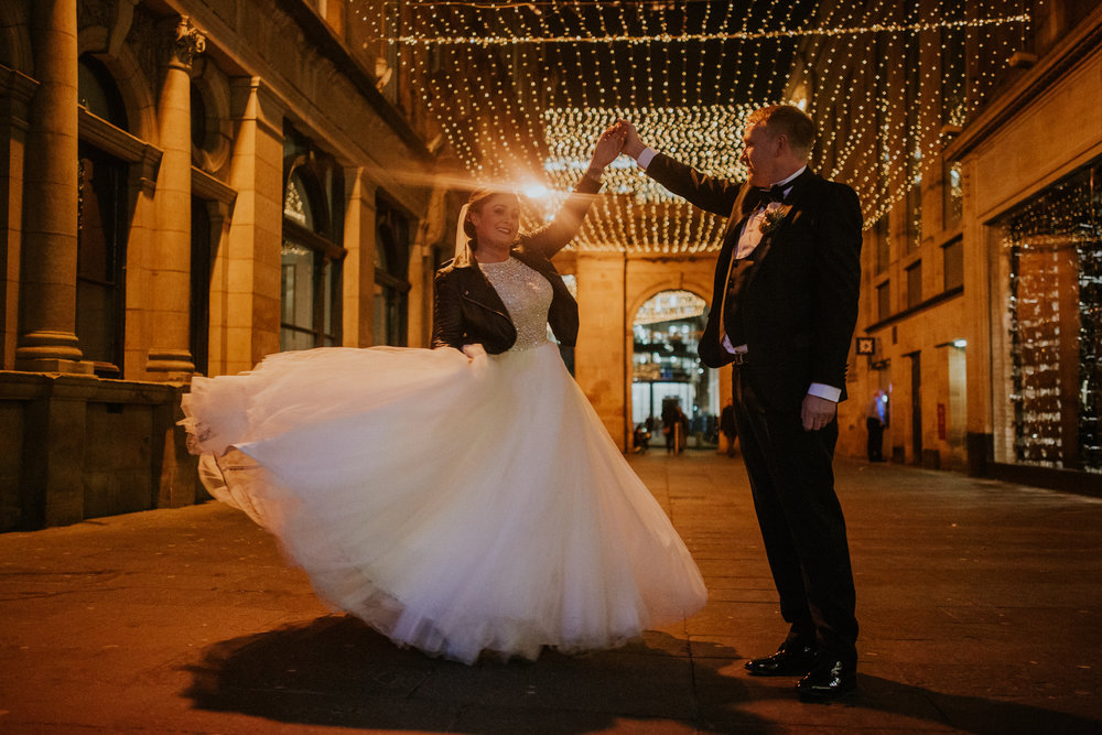 Dancing evening shot outside the 29 Private members club in city centre of Glasgow