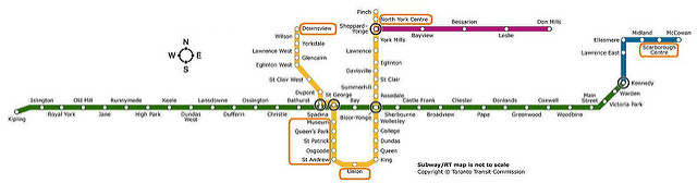 Map of the Toronto Transit Subway System (Flickr.com)