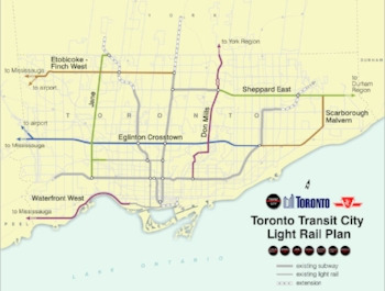 Toronto's light rail expansion map (colored lines indicate light rail)  courtesy of TransitToronto.ca
