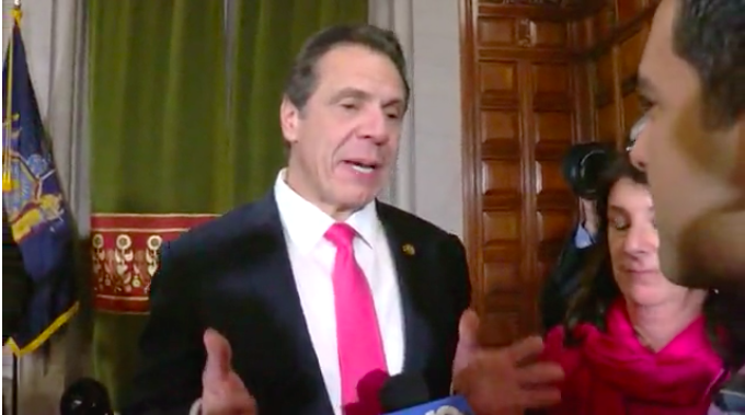 Gov. Cuomo speaking to NEWS10 after signing Reproductive Health Act into law. Courtesy of News10.