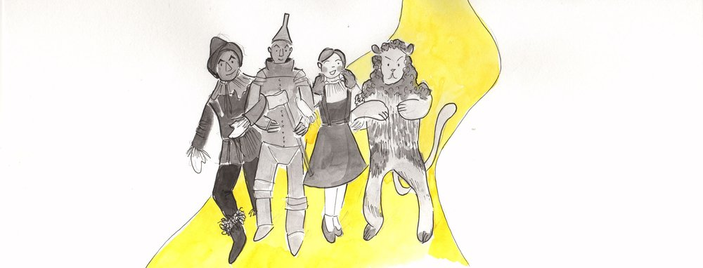 Yellow brick road illustration