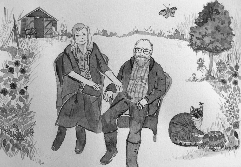 Portrait of couple in garden