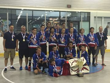 OSHAWA — The Oshawa peewee AA ball hockey team won a provincial championship on home floor in 2016. Pictured behind goalie Sean Grey are, from left, front row: Zack Laurin, Nick Blais, Tristan Peart, Cole Burrows; Second row: coach Sean McGuire, coach Mike Lemere, Josh Zupanic, Gabe Savage, Brendan Browne, Austin Jordan, Ethan Hamlyn, Brayden McGuire, Darius Visockas, coach Dan Blais; Back row: Westin Bartlett, Jake Lemere, Hayden Webster and Ryan Nickerson. Aug. 2, 2016