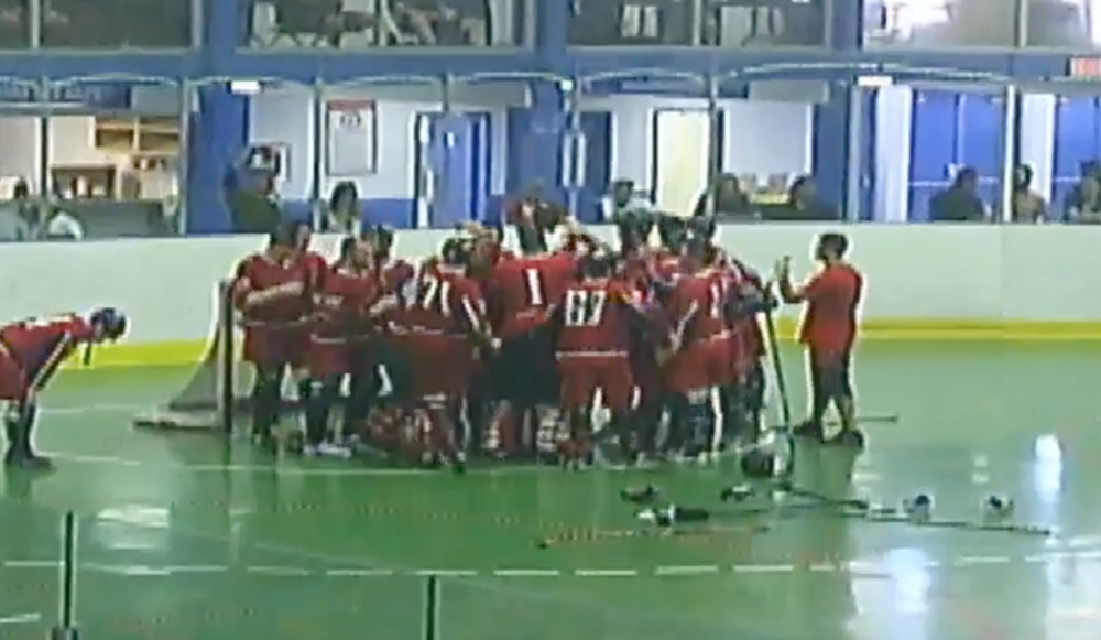 Montreal Red Lite celebrate after winning gold; taken from CBHA youtube stream.