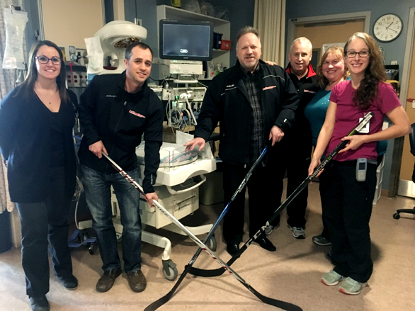 The Barrie Ball Hockey crew met with RVH employees Jolene Tomkins, Heather Davis, and resource nurse Carolyn Harrington to share their goal to raise funds for the benefit of patient care in the RVH Neonatal Intensive Care Unit.