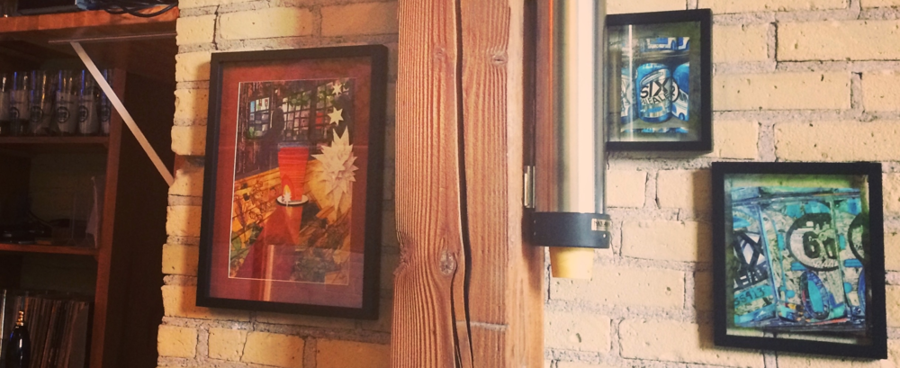 """""""Every time I look at them I see something new!"""" says Taproom manager at Bent Brewstillery in Roseville,MN where an EmLavArt original hangs. Another two originals can be found in the Cellar at 612 Brew in Northeast Minneapolis, (above)."""