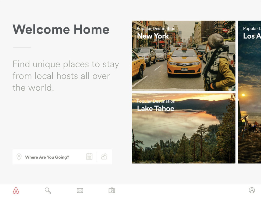 The first version of Airbnb on iPad