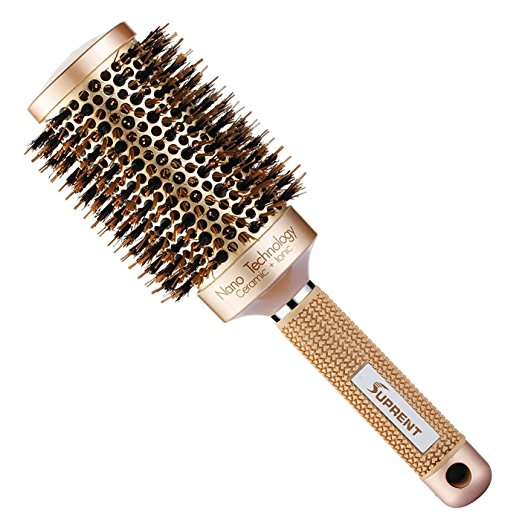 SUPRENT Nano Thermal Ceramic & Ionic Round Barrel Hair Brush with Boar Bristle  16.99 Amazon