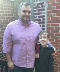 "My husband and son       headed  to ""Dads and Doughnuts"" at school."