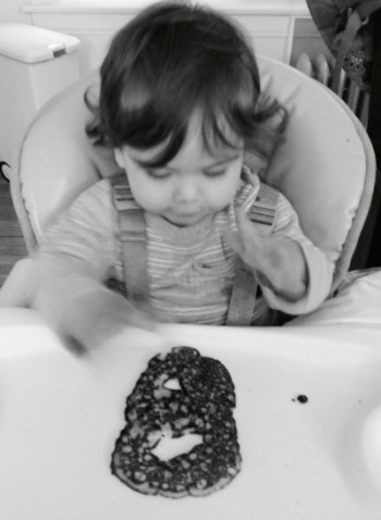 "Letter ""B"" pancake, excited toddler"