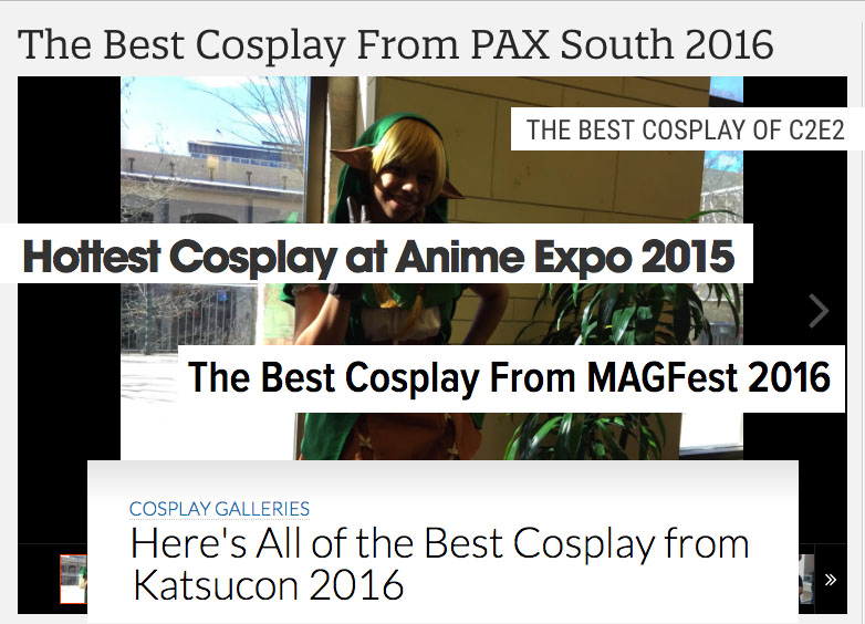 A collage of headlines from various media outlets' coverage of cosplay.
