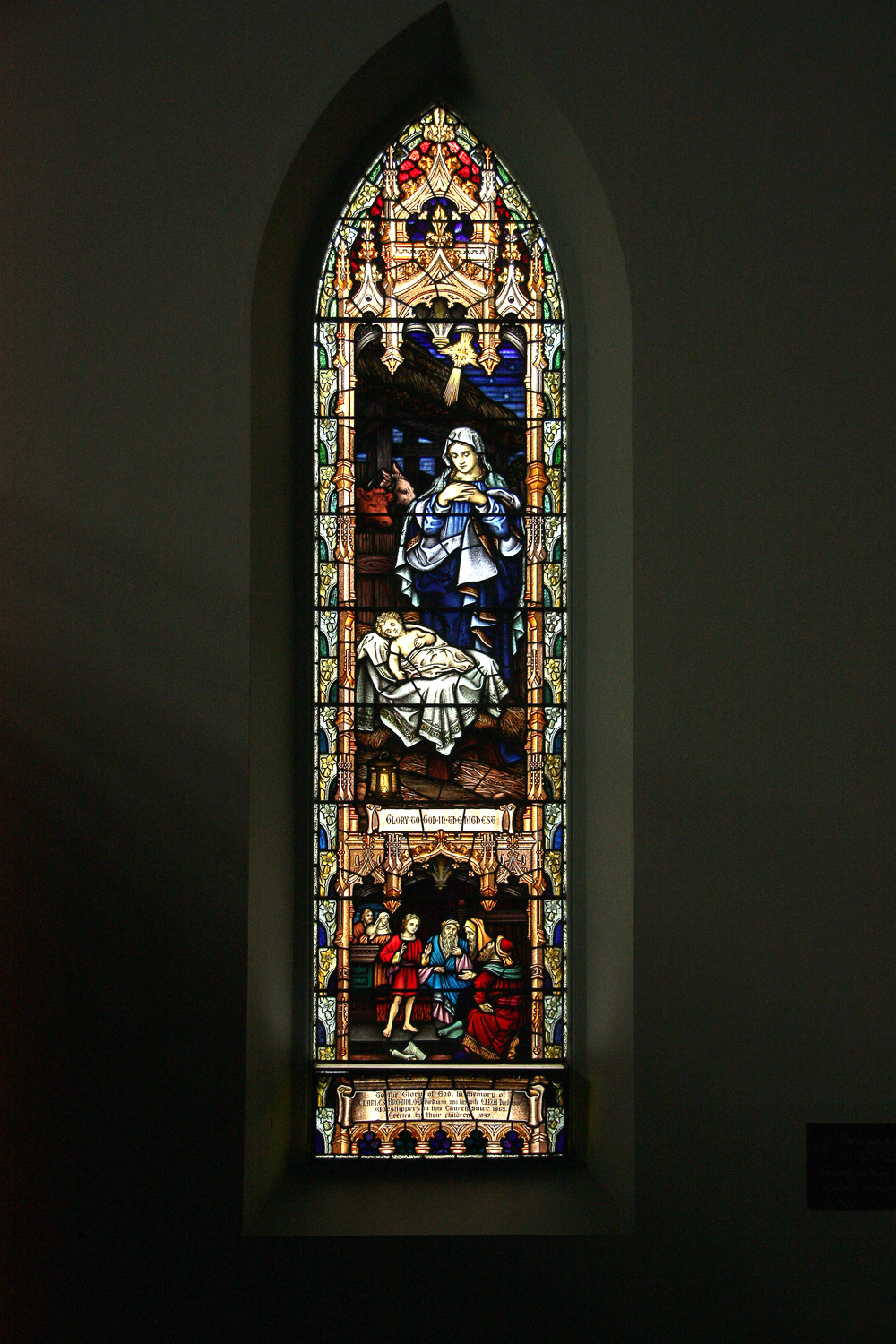 This is the Brownlow Window. If you fjollow AFL Football this window was dedicated to Charles Brownlow's father and mother. you are welcome to come and see it in the church.