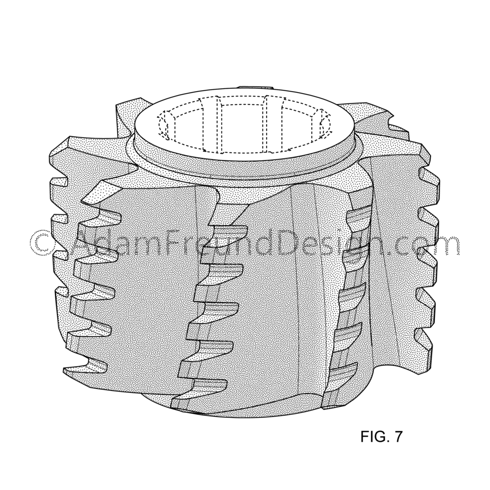 Milling Cutter Patent Drawing Example - Design Patent Drawing-01.png