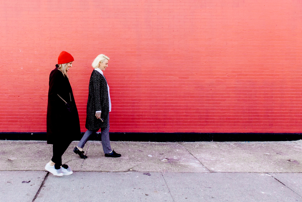 Walking city streets. Me in  Everlane  &  Here/Now  shoes, Julia in a  Tucker  coat.