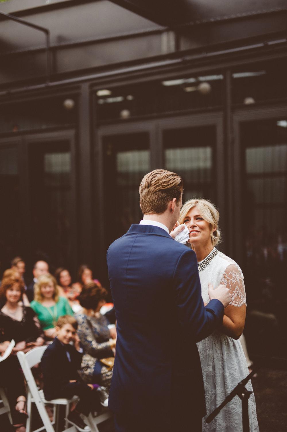 couple reading wedding vows